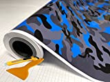 """Blue Black Gray Glossy Camouflage Vinyl Car Wrap Film Sheet + Free Cutter & Squeegee (Except Sample Size) (40FT x 5FT / 480"""" x 60"""")"""