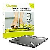 Sharon BT - Báscula digital inalámbrica con Bluetooth (análisis corporal de peso, grasa corporal, porcentaje de agua, masa muscular, masa ósea y valores de IMC)