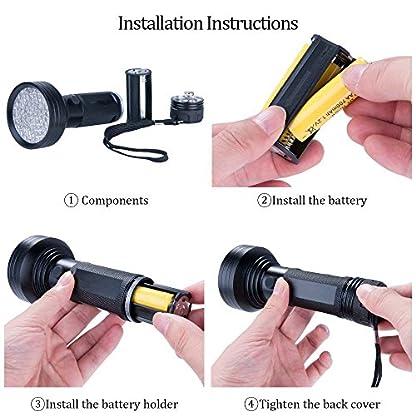UV Flashlight Black Light, WJZXTEK 68 LED 395nm Ultraviolet Blacklight Detector for Dog Urine,Dry Stains,Bed Bug, Matching with Pet Odor Eliminator(Batteries Not Included) 6