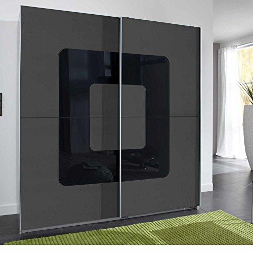 lifestyle4living Schwebetürenschrank mit Front in Graphit Korpus in Alu-Nb, Abs. in schwarzem Glas, 2 Einlegeböden und 2 Kleiderstangen,Maße:B/H/T...