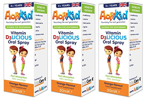 3X ActiKid Vitamin D3LICIOUS Oral Spray 30ml Orange Flavour | Sugar Free for Children | Fast Absorption | Vegetarian | Immune System