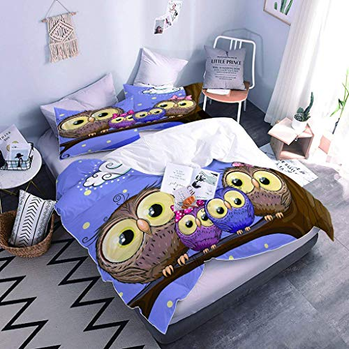 SNJIVU Duvet Covers King Size 3D Print Fairy Owl Bedspreads, 3 Pieces Zipper Closure Bedding Set Comforter Cover, Ultra Soft Breathable Microfiber Duvet Cover (104 X 90 Inches)