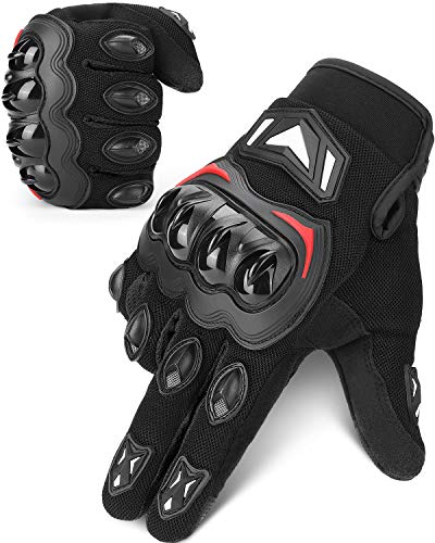 Guantes Moto Homologados para Hombre y Mujer, Guantesde Moto Transpirables con Pantalla Táctil, Guantes Antideslizantes con Protección Dedo Completo para Bicicleta, Deportes al Aire Libre
