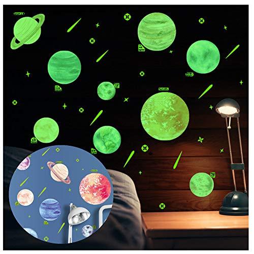 XLGX Planète Système Solaire Stickers Muraux fluorescents Lumineux Autocollant Plafond pour Décoration de Chambre d'enfant bébé (Multicolor)