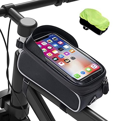 Bolsas de Móvil Bicicleta Impermeable - Bolsa Bicicleta Montaña con Pantalla Táctil de Tubo Superior Delantero con Orificio para Auriculares Teléfono Inteligente Debajo de 6,5 Pulgadas, Gris