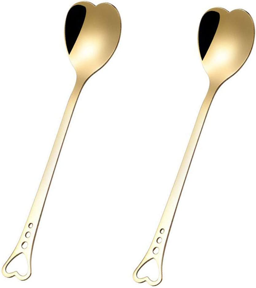 2Pcs Heart Shaped Omaha Mall Spoons Love Spoon Coffee for 4 years warranty Stirring