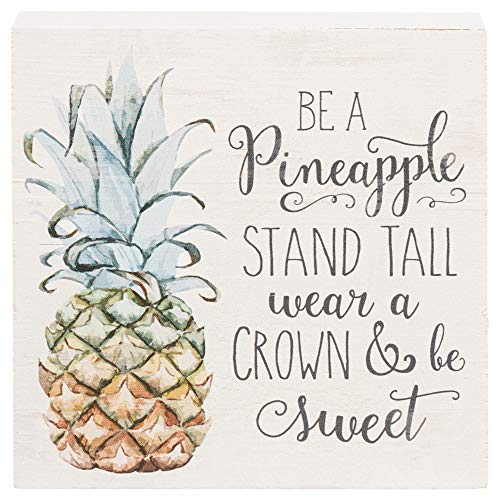 Pineapple Stand Crown Be Sweet Whitewash 5.5 x 5.5 Solid Wood Barnhouse Block Sign