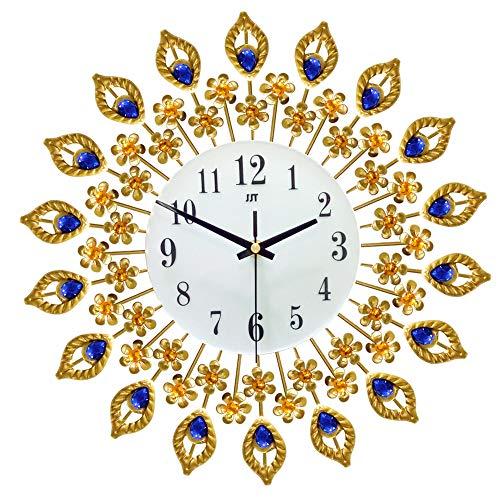reloj de pared del hierro de oro decorativa silenciosa del reloj único en forma del pavo real moderna relojes de pared Inicio la decoración del reloj de la sala de estar, oficina (14.9x14.9in)