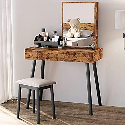IRONCK Vanity Table with Jewelry Armoire with Mirror, Vanity Set with Stool, Rustic Makeup Dressing Table, Vintage Brown