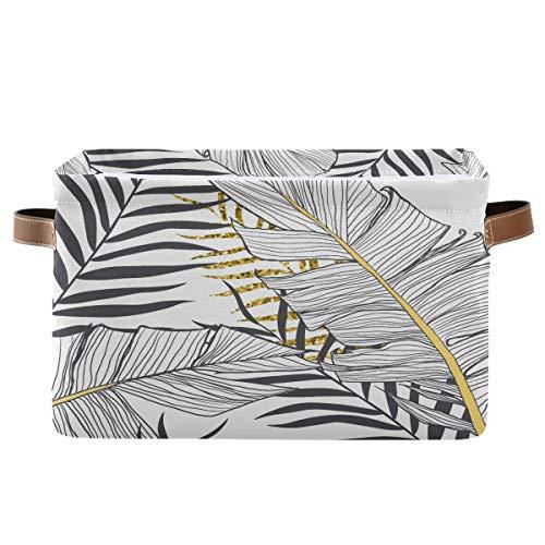 Cesta de almacenamiento F17 con hojas de palma tropicales y hojas de Hawái, caja de almacenamiento con asa, 1 paquete, plegable de tela de lona para armario, guardería, hogar, oficina, lavandería