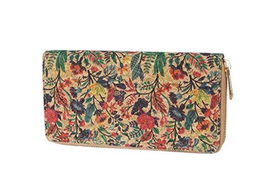irisaa Damen Portemonnaie Kork mit Ethno Muster, Blumen Geldbörse, Bunte Geldbeutel mit Reißverschluss, Damen Tasche:Rot Grün Blätter