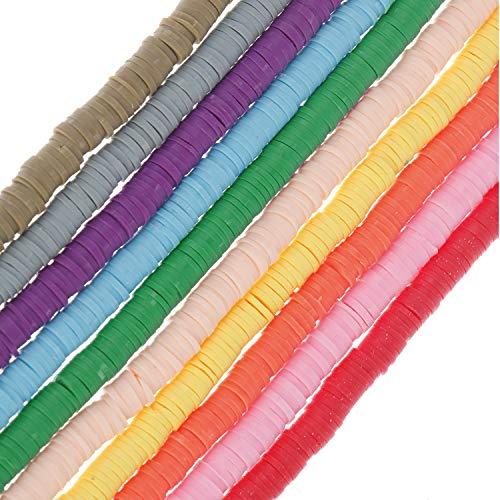 Olgaa - Cuentas de arcilla de 6 mm, 10 cuerdas, de vinilo, redondas, sueltas, hechas a mano, para hacer joyas, collares, pulseras