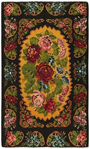 Nain Trading Kelim Roses Alt Tapis oriental noué à la main en Moldavie Noir 323 x 193 cm