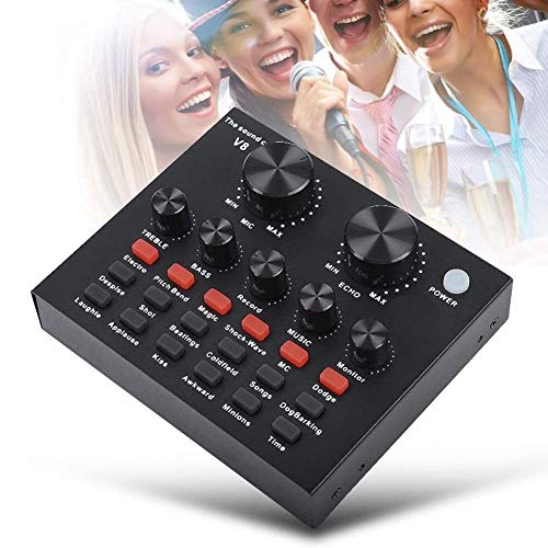 WDMC Audio Mixer DJ Sound Mixer, USB digitale externe geluidskaart mengconsole voor pc, telefoon, headset, live opname, Home KTV, Voice Chat