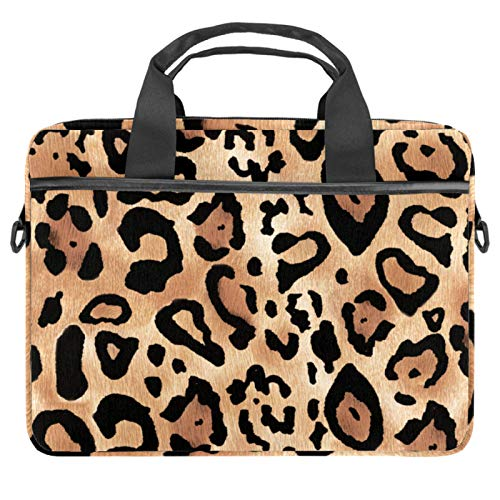13.4-14.5 inch Laptop Bag Case with Shoulder Strap, Computer Sleeve Cover Compatible All Computers Messenger Bag with Accessory Pocket Brown leopard print