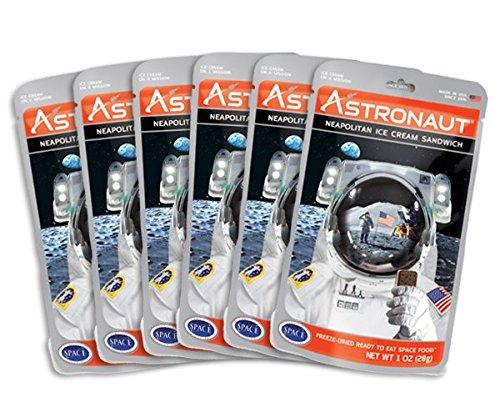 Astronaut Foods Freeze-Dried Ice Cream Sandwich, NASA Space Dessert, Neapolitan, 6 Count