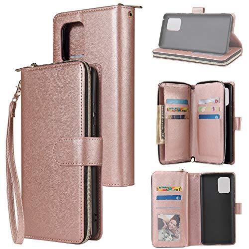 nancencen Handyhülle Kompatibel mit Samsung Galaxy S10 Lite 2020/A91, Lederhülle Flip Cover Brieftasche Hülle Kreditkartenschlitz (9 Karten) für Samsung Galaxy A91/M80S Schutzhülle -Roségold