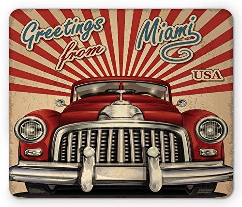 Alfombrilla de ratón de la década de 1970, vehículo turístico de Estilo Vintage con Rayas Saludos de Coche Retro de Miami, Alfombrilla de Goma Rectangular, Azul Crema bermellón