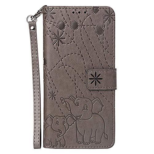 vingarshern Hülle für Huawei Honor Play 8A Schutzhülle Klappbares Flip Lederhülle Magnetverschlüsse Schutztasche Etui Honor Play 8A Hülle Leder Brieftasche,Elefant-Grau MEHRWEG