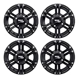 RockTrix RT101 12in ATV Wheels 4x110 Rims   12x7   5+2 F and 2+5 R Offset   SRA Only, Compatible with Honda Foreman 400 450 500, Rancher 350 400 420 Solid Rear Axle - Set of 4
