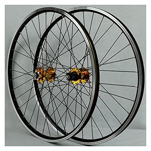 LICHUXIN Bicicleta Ruedas Delanteras 26/29 Pulgadas Bicicleta Montaña de Doble Pared de Llantas de Aluminio Liberación Rápida Freno Disco/Freno V 7-11 Velocidades (Color : Gold, Size : 29in)