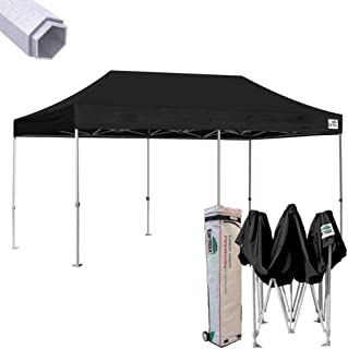 Eurmax 10 x 20 EZ Pop up Canopy Wedding Party Tent Gazebo Shade Shelter Commercial grade Bonus Wheeled bag (Black)