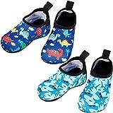 Geyoga 2 Pairs Baby Swim Water Shoes Non-Slip Barefoot Toddler Beach Aqua Pool Socks (Numeric_7)