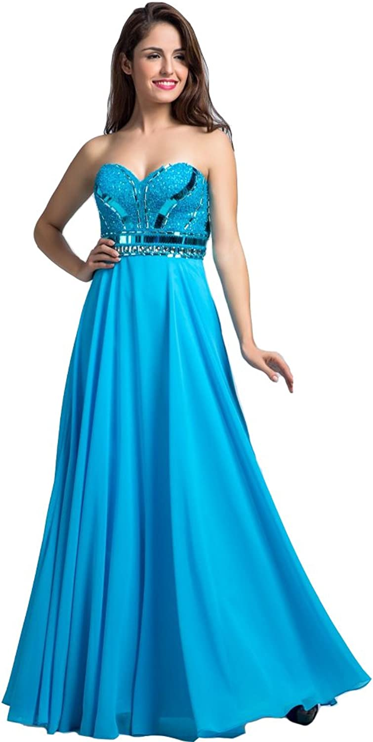 Lemai Women's bluee Sweetheart Beaded A Line Long Corset Formal Prom Evening Dresses