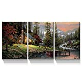 Denozer - 3 Panels Canvas Wall Art Thomas Kinkade Garden Landscape Oil Painting for Home Decor Stretched and Framed Ready to Hang - 20'x30'x3 Panels Wall Decor