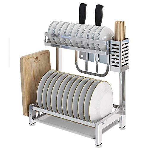 Kitchen shelf 304 Stainless Steel Kitchen Rack 2Layer Countertop Drain Dish Rack With Chopping Board Shelf, Cutlery Drainer