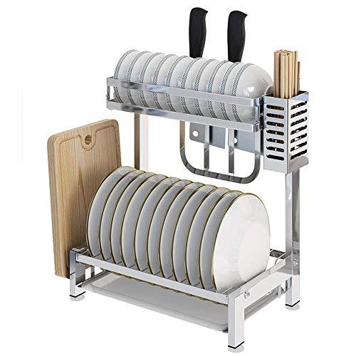 HYY-YY Keuken plank 304 Stainless Steel Keukenrekje 2laags Countertop Tap Afdruiprek Met snijplank Shelf, Bestek