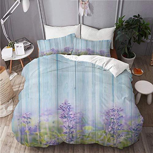 Juego de funda nórdica para ropa de cama, 3 piezas, funda de edredón con 2 fundas de almohada, jardín de lavanda floral en campo rústico de flores de primavera de madera vintage, colcha de microfibra