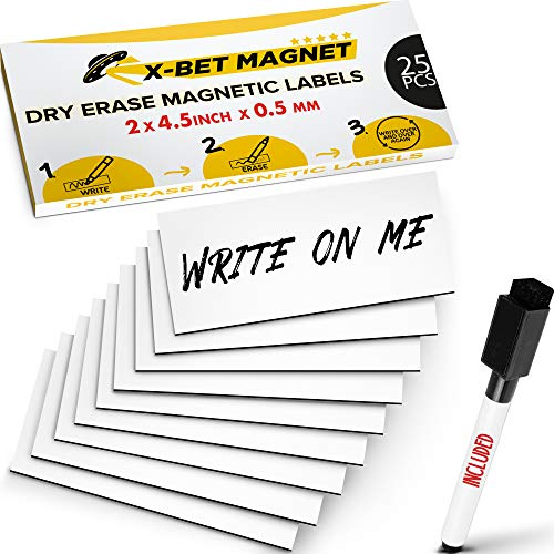 Magnetic Labels Dry Erase for Metal Shelving and Whiteboards - Dry Erase Magnetic Strips - Sticky Labels and Stickers - Blank Write On Magnets - Writable Flexible Magnet Sheet for Refrigerator