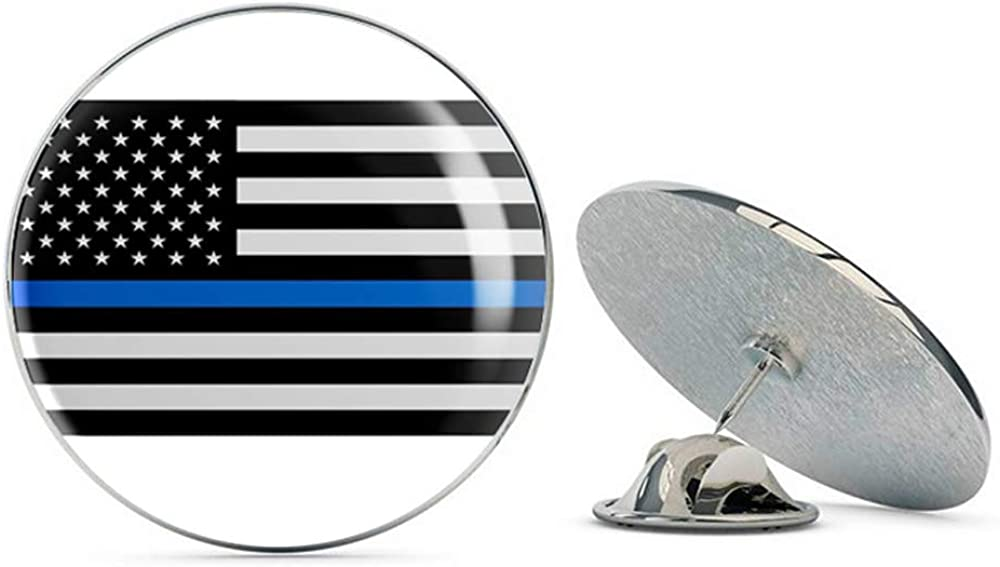 Police Officer Thin Blue Line American Flag Metal 0.75
