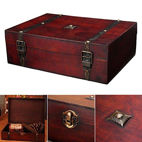 Lembeauty - Caja de almacenamiento de madera envejecida para escritorio, registro del hogar, joyería de credencial, organizador con hebilla de metal