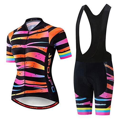 Completo da Ciclismo da Donna, Abbigliamento da Ciclismo + Pantaloncini con Tute da Ciclismo Estive Imbottite in Gel 19D MTB a Manica Corta (Colore : B, Taglia : M)