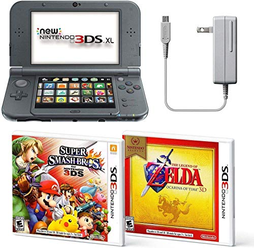 Black Nintendo 3DS XL Bundle Nintendo, AC Adapter, and Two Full Games 3D Mode (Ages 7+ Years)