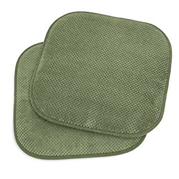 Kashi Home 16 x16  Memory Foam Chair Seat Cushion Pad for Kitchen Dining Room Patio Chairs Set of 2 Green