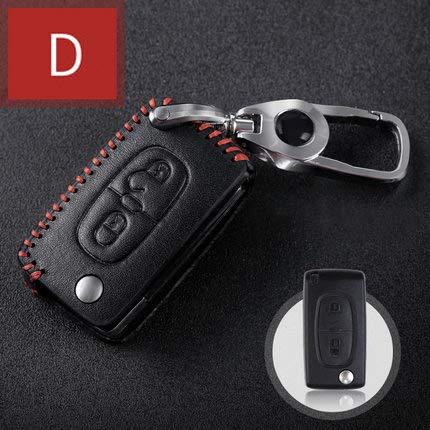Tuqiang® Hand nähen Echt-Leder Schlüsselcover Autoschlüssel hülle Schutz hülle für 2 Tasten Falten Schlüssel 1 Stück