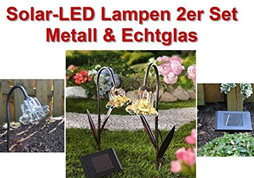 Hochwertige Solar Leuchten aus Metall & echt Glas im Blütendesign als 2er Set , extra Panel, sehr hochwertige Solarlampen,Solarleuchten!