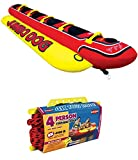 AIRHEAD HD-5 Jumbo Hot Dog 5-Person Rider Inflatable Towable Tube w/ Tow Rope