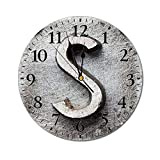 AEMAPE Reloj de Pared Redondo con Letra S, Bloque de Aspecto Desgastado dañado con Aspecto Oxidado Textura Grunge Imagen de Signo de Alfabeto Reloj con Pilas