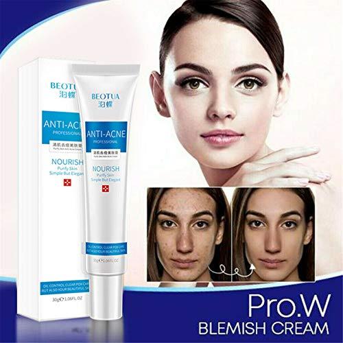 2 pièces Pro.W Blemish Cream - Crème réparatrice éclaircissante hydratante, réduit l'acné kystique, les boutons, les imperfections et les cicatrices sur le visage