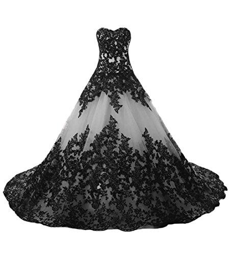 O.D.W Lange Spitze Vintage Brautkleider Frauen Gotisch Hochzeitskleider(Weiß+Schwarz, 38)