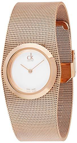 Calvin Klein Damen Analog Quarz Uhr mit Edelstahl Armband K3T23626