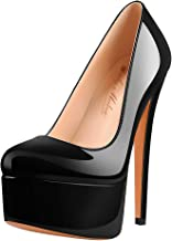 Onlymaker Women's Round Toe Super High Heel Platform Stiletto Slip On Pumps for Wedding Party Shoes