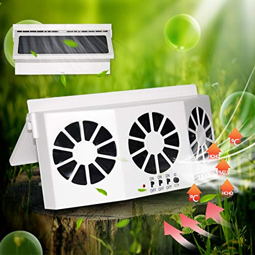 Newest Solar Powered Car Ventilator, Solar Powered Car Exhaust Fan, Car Radiator,Eliminate The Peculiar Smell Inside The Car and Can Be Used for General Types of Cars(White)
