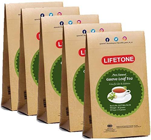 Guavenblatttee | 100% natürliche ganze Kräuter | Detox Tee zur Gewichtsreduktion | Packung mit 5 Stück | 100 Teebeutel