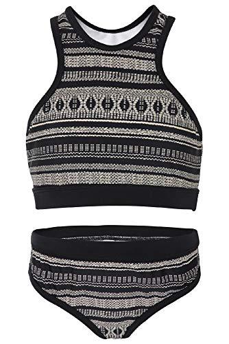 La-V Mädchen Bikini Zweiteilig Sport Labyrinth Schwarz/Größe 170/176