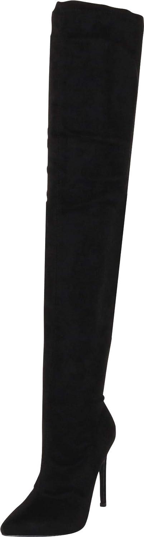 Liliana DB54 Women Suede Pointy Toe Thigh High Single Sole Stiletto Boot - Black
